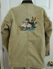 PATAGONIA Canvas Jacket Embroidered DUCKS Mens SMALL Aztec Fleece Lined Corduroy