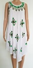 WHITE EMBROIDERED PLUS/FREE SIZE UMBRELLA BOHO DRESS FITS UP TO SIZE 14 16 18