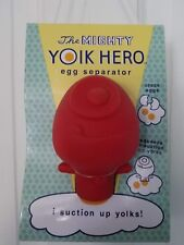 The Mighty Yolk Hero egg separator. Mess Free, squeeze & suction. red