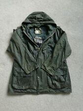 "Barbour Durham Hooded Waxed Jacket GREEN (Mens 46/48 "" chest) + Barbour wax"