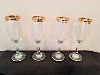 Set of 4 Crystal Stemmed Champagne glasses Gold Band Trim Barware