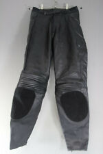 HEIN GERICKE BLACK LEATHER BIKER TROUSERS + CE ARMOUR SIZE 8: WAIST 28/LEG 30 IN