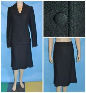 St John Evening Knit Black Jacket & Skirt L 12 14 2pc Suit Fabric Buttons