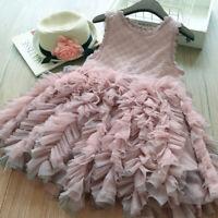 Girls Tulle Tutu Plain Childs Button Beach Fashion Princess Dress Casual Gifts