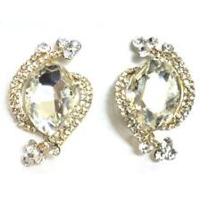 "1.25"" Gold Toned Clear Rhinestone Clip-On Earrings"