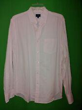 1566) J CREW medium pink stripe seersucker cotton button up shirt M