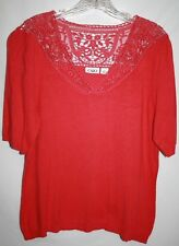 CATO Misses LARGE Coral Lace Embroidery V Neckline SS Banded Hem Thin Sweater
