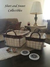 NEW Set of 2 RECTANGLE Weaved Baskets Burlap Lined with Sturdy Handles Wire Wood