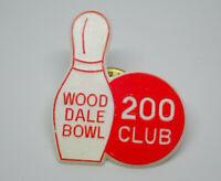 Wood Dale Bowl 200 Club Bowling Pin and Ball Vintage Lapel Pin