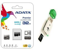 Adata 32GB Micro SD SDHC MicroSD Flash Memory with Adapter + USB Card Reader