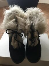 Black Suede Real Sheepskin  Ankle Boots Uk Size 4, Eu 37 Accessoire Detente