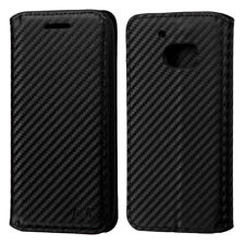 For HTC ONE M10 - Black Carbon Fiber Card Wallet ID Money Holder Pouch Case