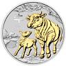 1 Unze Silber Ochse Ox  2021 Australien vergoldet gilded