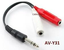 "1/4"" Stereo Plug Male/2 Female Audio Splitter Cable"