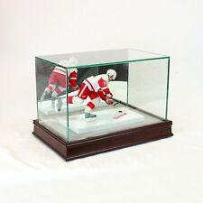 McFarlane Figurine Glass Display Case - Cherry Base - Grey Suede Bottom