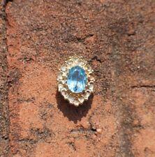 Solid 14K Yellow Gold Vintage Oval Bracelet Slide Charm Blue Topaz Pendant