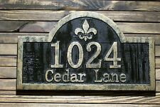 Address Sign Fleur De Lis Antique Brass Finished Wood Custom Carved