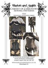 Burlesque Underbust Corset Paper Sewing Pattern with suspenders Garters MEDIUM