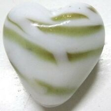 4 Pieces Lampwork Heart Glass Beads - 20mm - White - A3978
