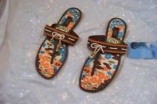 new womens rafe brown leather t-strap sandals shoes size 9/10