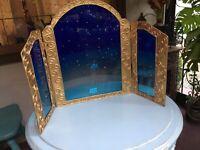 Vintage Tryptic Triple Arch Divider Frame Hammered Metal Fantasy Fairy Princess