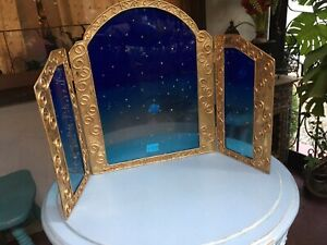 Vintage Tryptic Triple Arch Divider Frame Hammered Metal Fantasy Fairy Princess