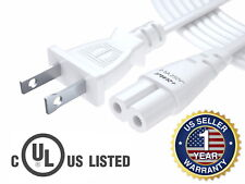 White 12 Ft 2 Prong Cable Led Lcd Smart Tv Vizio Samsung Sony AC Wall Power Cord