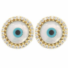 EVIL EYE STUD EARRING MOTHER OF PEARL STERLING SILVER TRENDY EVIL EYE STUD