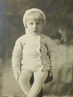 RPPC Adorable Child Knitted Pants Sweater Hat & Gloves Old Real Photo Postcard