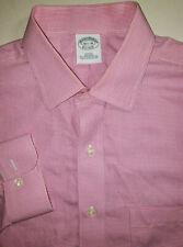 BROOKS BROTHERS Mens Slim Fit Supima Cotton Pink Plaid Polo Dress Shirt 16.5-36