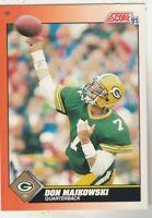 FREE SHIPPING-MINT-1991 Score #419 Don Majkowski Green Bay Packers +BONUS CARDS