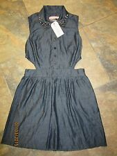 BNWT OhMyLove TopShop Dress L 12-14 Denim Cut Out Shirt Style Studded Gold