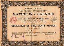 Obligation MATHELIN ET GARNIER et 31 coupons-  PARIS - 1929