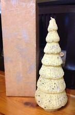 """VTG WHITE CHRISTMAS TREE CANDLE 9"""" NOT BURNED SILVER GLITTER STARS 7 TIERS"""