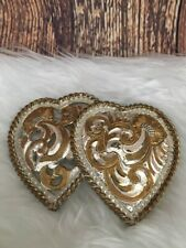 Crumrine Dual Love Hearts Etched Heavy Silver Plated Gold Tarnished Belt Buckle