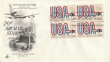 US 1968 20 CENT AIR MAIL BLOCK OF 4 ON ART CRAFT FIRST DAY COVER NEW YORK FDI