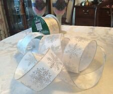 3 metres of 2.5 inch wide white silver glitter snow flake wire edge ribbon