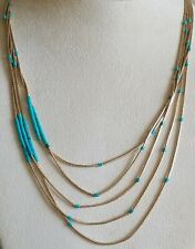 Signed 5 Strand Liquid Turquise Necklace Rare! Vtg Native American Gold Field