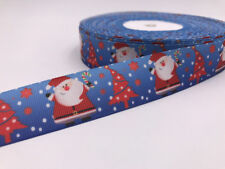 1 Yard 1''Christmas tree old man Printed Grosgrain Ribbon Hair Bow Sewing Ribbon