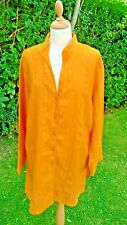 Elizabeth Liz Claiborne bright orange embroidered linen long tunic size XL C10