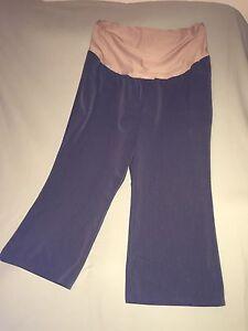 USED DUO MATERNITY DRESS PANTS STRETCH SZ 2X PANEL GRAY PLUS XXL SHORT GREY