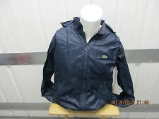VINTAGE LACOSTE ZIP-UP LARGE TRACK JACKET NAVY WITH HOODY 100% NYLON  90s