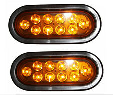 "2x Amber 10LED Trailer Truck Surface Mount 6"" Oval Brake Stop Sealed Tail Light"