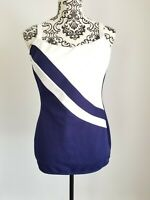 Vintage Blue White Robby Len Women Swim Suit Dress Bathing Pinup 12 Made in USA