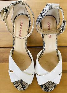 DIANNA FERRARI Size 9 Heels White Snake Skin Sandals Ankle Straps NERINA Sexy