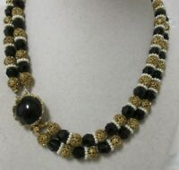 Vintage Two Strand Gold Tone Beads, Black Glass Crystals & Faux Pearls Necklace