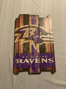 "Baltimore Ravens NFL 17"" x 11"" Wood Decorative Indoor Sign Wincraft Brand New"