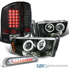 02-05 Ram 1500 2500 3500 Black Projector Headlights+LED Tail+Clear 3rd Brake
