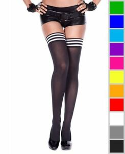 New Music Legs 4749 Opaque Thigh High Stockings With Striped Top
