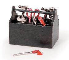 Miniature Wood Tool Box with 8 tools - Doll House Tool Box - Gnome Tool Box